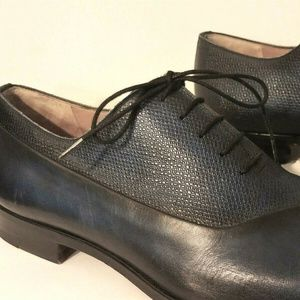 Magnanni Blue Embossed/Smooth Leather Dress Shoes